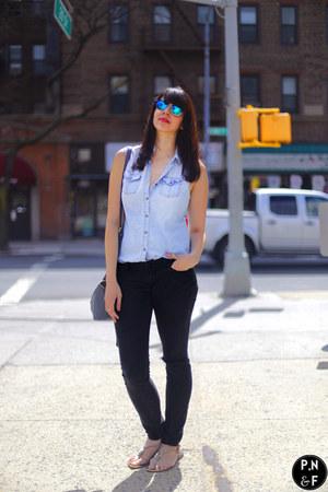 blue sunglasses - black H&M jeans - light blue Target shirt