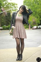 light purple Bar III dress - black H & M jacket - chartreuse brandy melville bag