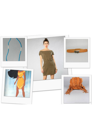 camel Plndr dress - tawny fringed Plndr bag