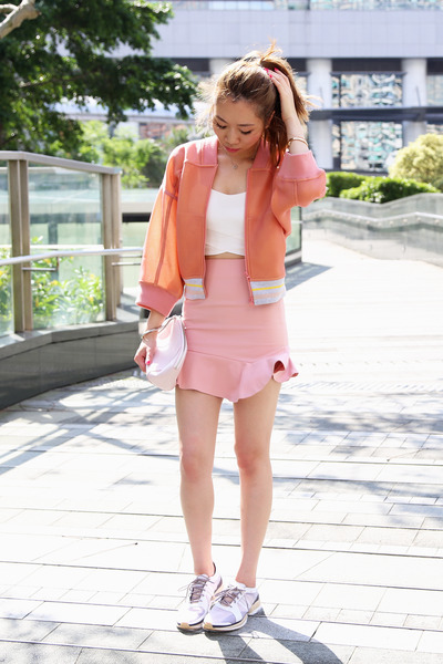 Zara skirt - stella mccartney x adidas jacket - Alexander Wang bag - MO & CO bra