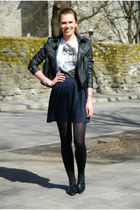black leather random brand jacket - white random t-shirt