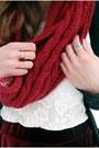 Ruby-red-self-made-scarf-black-tamaris-boots-black-zara-cardigan