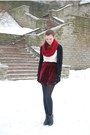 Black-tamaris-boots-ruby-red-self-made-scarf-brick-red-suede-chicwish-skirt