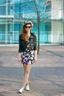 Navy-bodycon-floral-forever-21-dress-black-leather-cropped-random-jacket