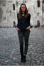 Black-tamaris-boots-navy-zara-shirt-forest-green-printed-oasap-pants