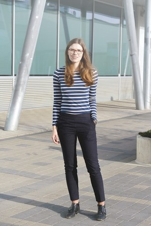blue striped Primark shirt - black H&M boots - navy pinstripe H&M pants