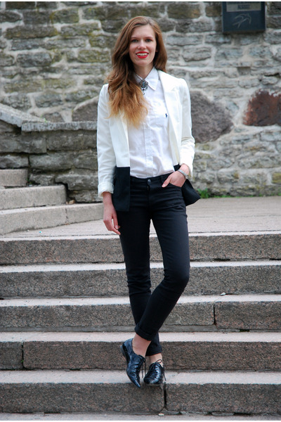 white H&M blazer - black lindex jeans - white Ralph Lauren shirt
