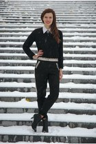 black Tamaris boots - black Cubus sweater - white Ralph Lauren shirt