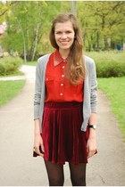 ruby red velvet Chicwish skirt - red pearl collar vintagediy shirt