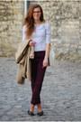 Beige-h-m-coat-magenta-marks-spencer-jeans-white-breton-h-m-shirt