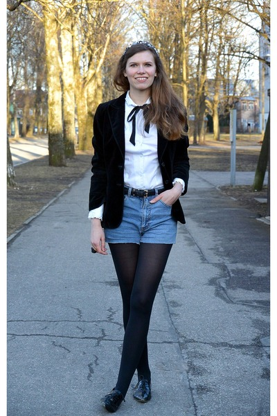 light blue denim vintage shorts - black velvet vintage blazer - white PTA shirt