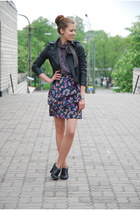 deep purple printed H&M skirt - black leather random brand jacket