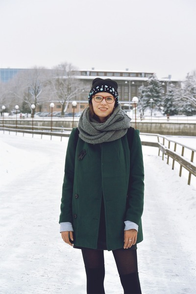 teal oversized StyleMoi coat - black H&M hat - black backpack MÄRSS bag