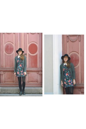 charcoal gray floral Zara dress - black fedora Topshop hat