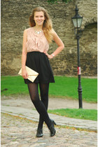 black Sugarlips dress - black random shoes - beige envelope vintage bag