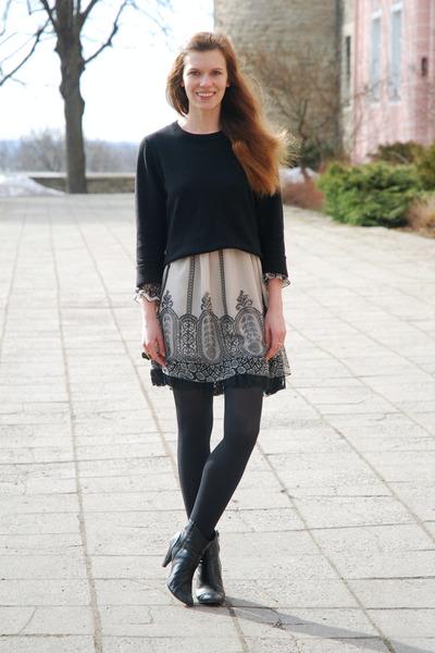black Tamaris boots - tan Dorothy Perkins dress - black thrifted sweater