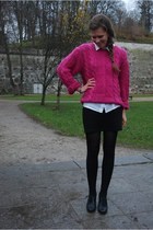 hot pink selfmade sweater - black random brand shoes - white thrifted shirt