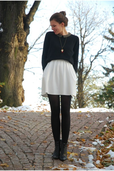 red Rings&Tings necklace - black Tamaris boots - white Zara dress