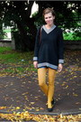 Black-thrifted-sweater-mustard-lindex-tights-dark-brown-thrifted-bag