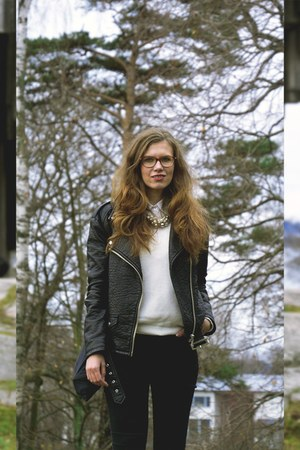 black Amisu jacket - silver shiny asos boots - black skinny Monki jeans