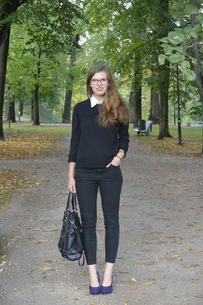 black Monki jeans - black Cubus sweater - deep purple Seppälä heels