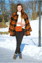 burnt orange plaid thrifted coat - charcoal gray angelo caurtti boots