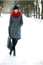 charcoal gray H&M coat - black Tamaris boots - black H&M hat