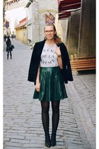 dark green leather asos skirt - black blink shoes
