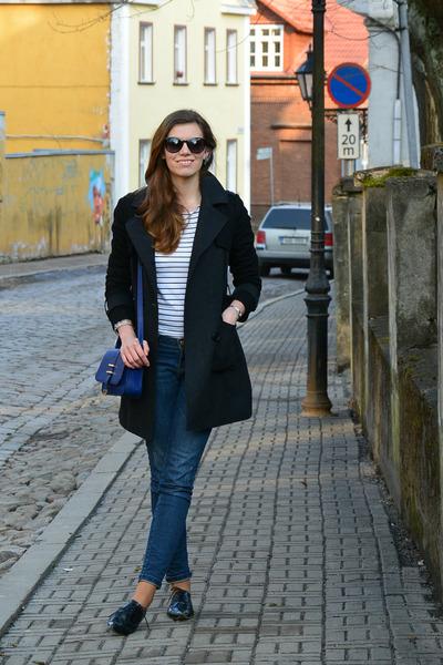 Monton coat - house jeans - breton H&M shirt - Atmosphere bag