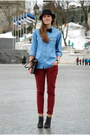 Brick-red-amisu-jeans-black-lindex-hat-sky-blue-denim-calvin-klein-shirt