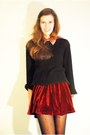 Brick-red-velvet-chicwish-skirt-black-soliver-sweater