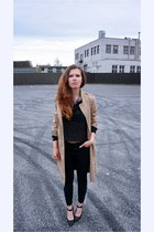 black Monki jeans - beige H&M coat - black see-through random shirt