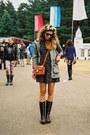 Dark-gray-wellies-random-boots-black-fashion-union-dress
