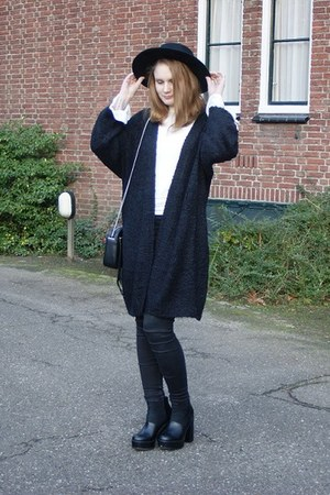 black All Saints bag - ivory Urban Outfitters blouse - black brave soul cardigan