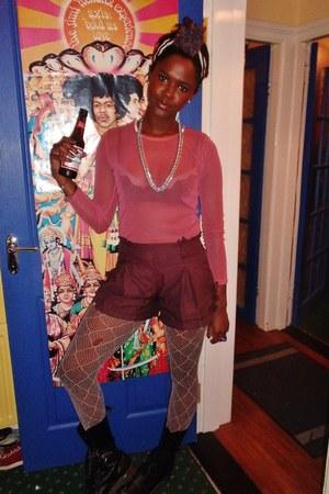 pink mesh swamp top - crimson kling shorts