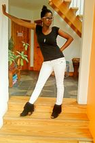 black front pocket Primark t-shirt - black tassles With Love boots