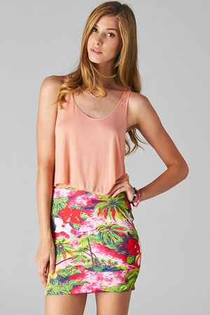 orange crop top PUBLIK top - PUBLIK skirt