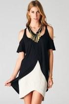 camel PUBLIK necklace - ivory PUBLIK skirt - black PUBLIK top