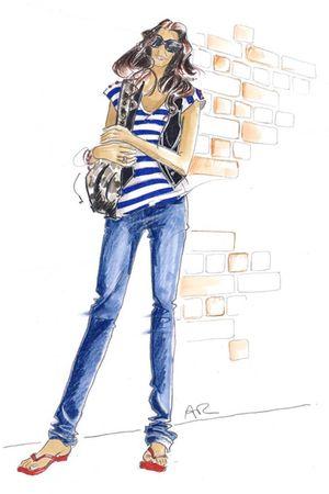 gray bag - blue top - black vest - red shoes - blue jeans