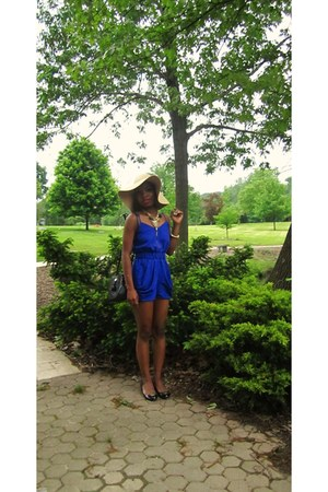 blue blue Urban Outfitters romper - nude floppy hat vintage hat