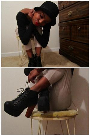 lita Jeffery Campbell heels - high waisted H&M pants - long sleve American Appar