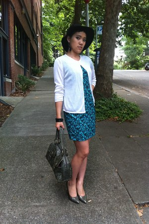 turquoise blue tulip dress thrifted vintage dress - black Target hat