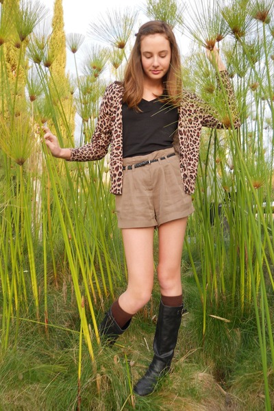 tan leopard print Apt 9 cardigan - leather boots Candies boots