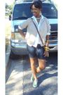 White-shirt-beige-blazer-blue-shorts-green-shoes-gold-accessories