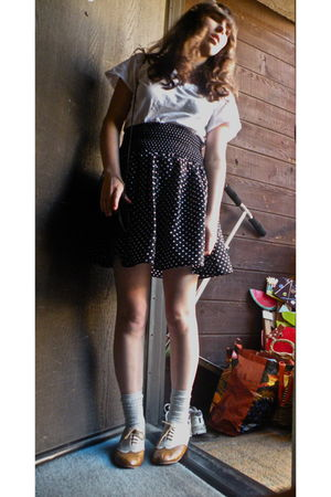 white shirt - black H&M skirt - silver socks - beige shoes - black purse