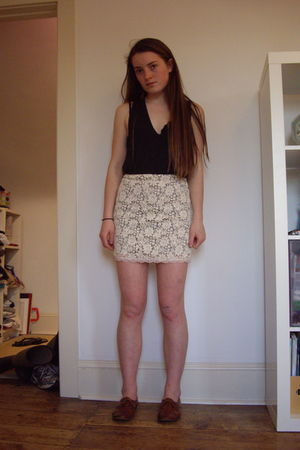 gray Alexander Wang top - white Urban Outfitters skirt - brown joan&david shoes