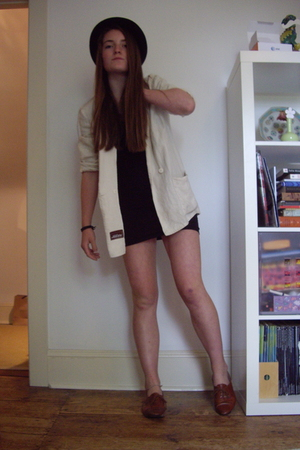 blazer - American Apparel dress - joan&david shoes - forever 21 hat