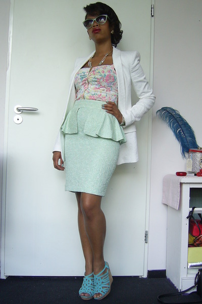 ivory Zara blazer - pastels new look top - light blue peplum Zara skirt