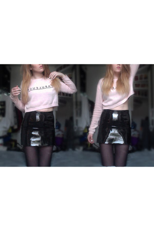 light pink knitted jumper H&M jumper - bubble gum Topshop socks