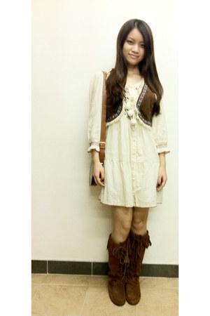 boots - dress - Zara bag - Top Shop vest